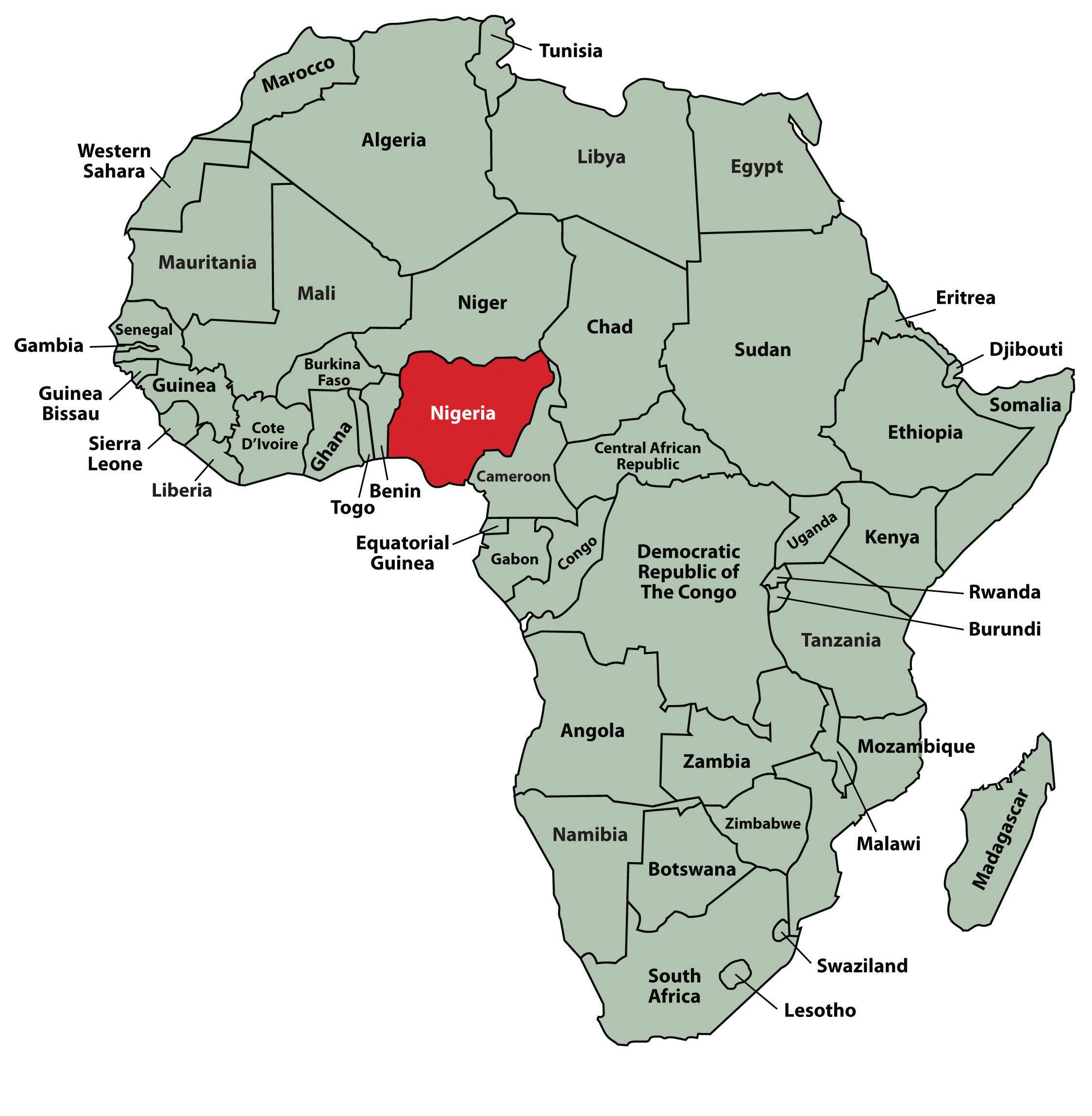 Map of africa showing nigeria - Map of africa showing nigeria ...