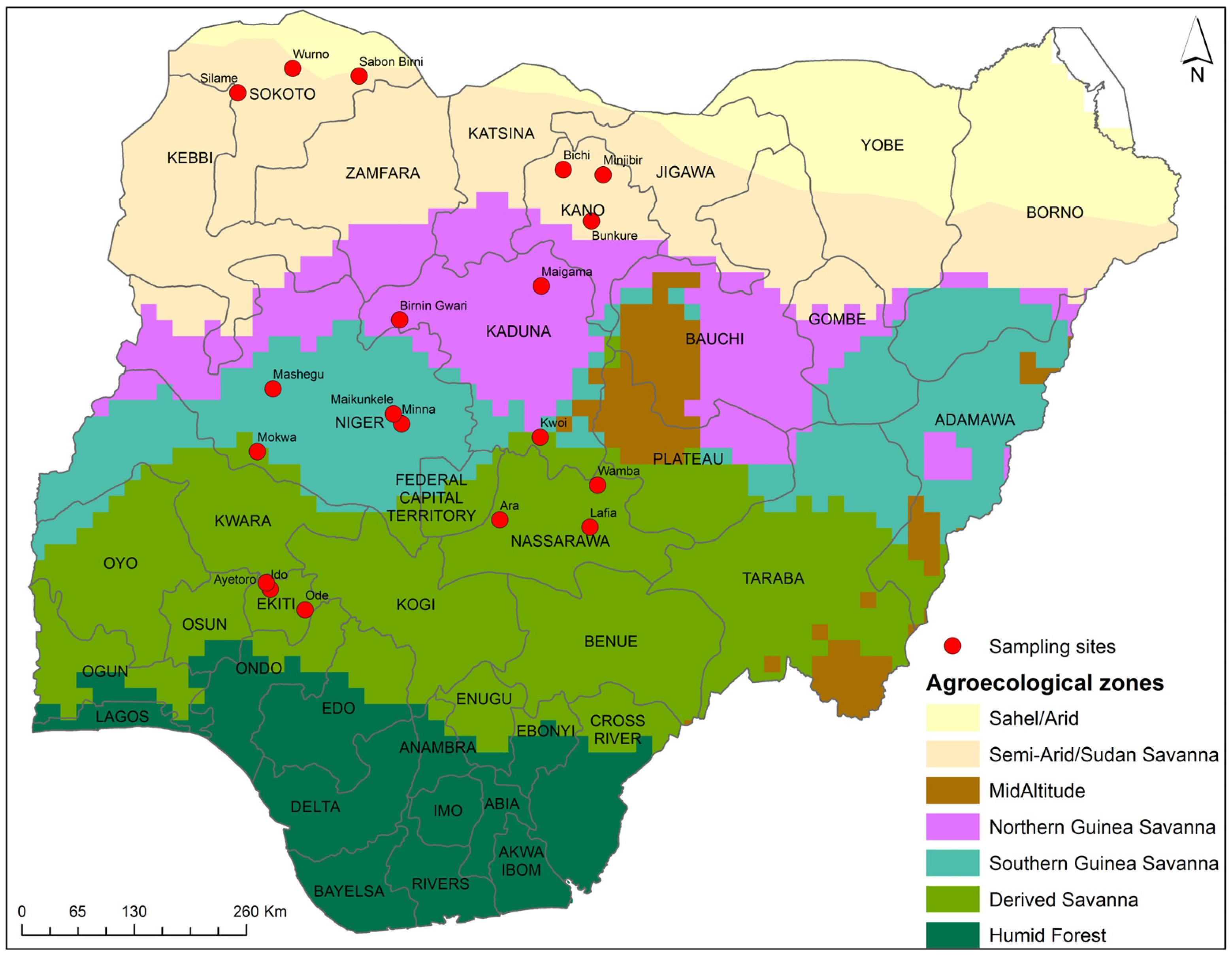 Map of nigeria showing distribution of crops - Map of nigeria ...