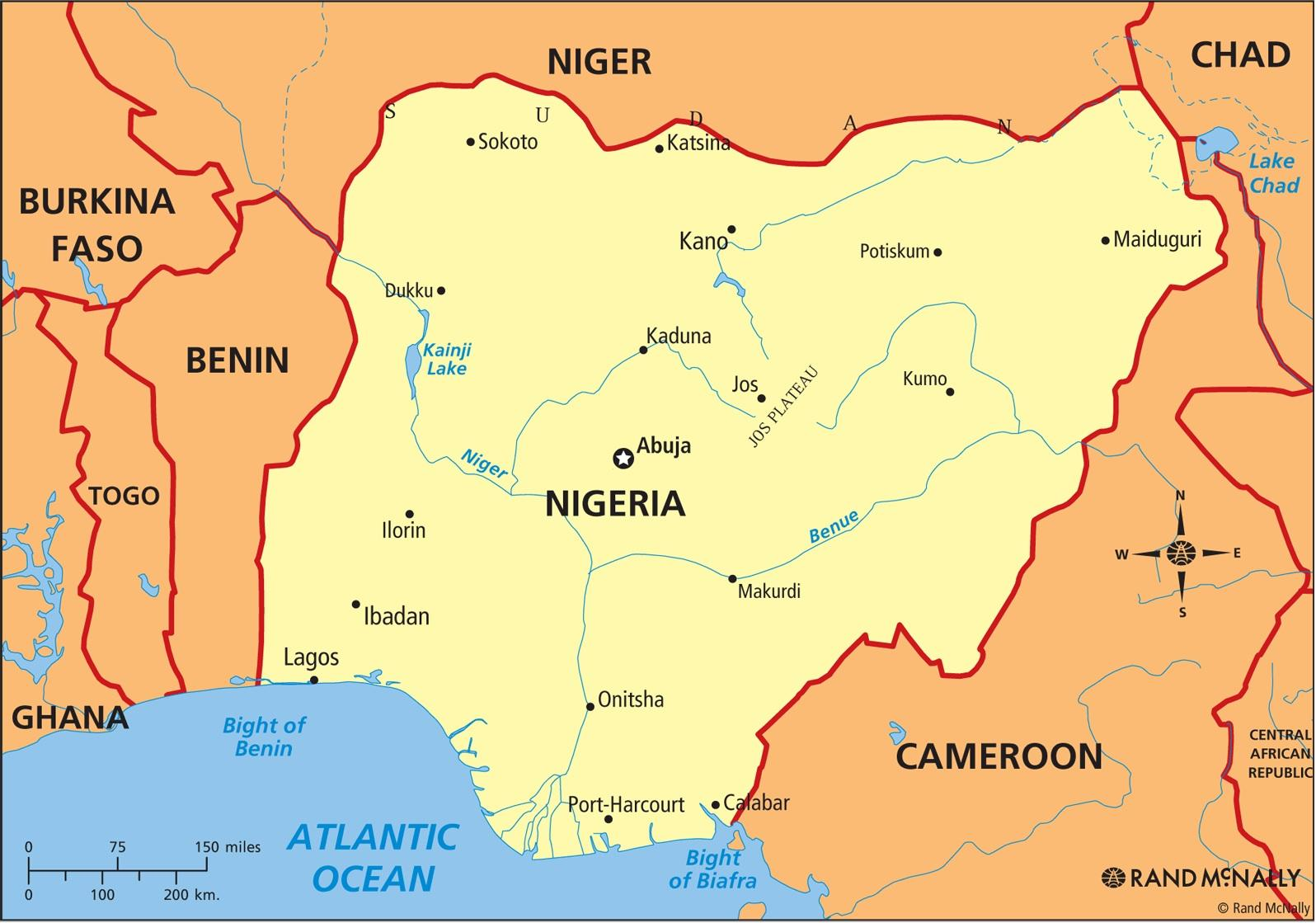 Map of nigeria showing river niger and river benue   Map of