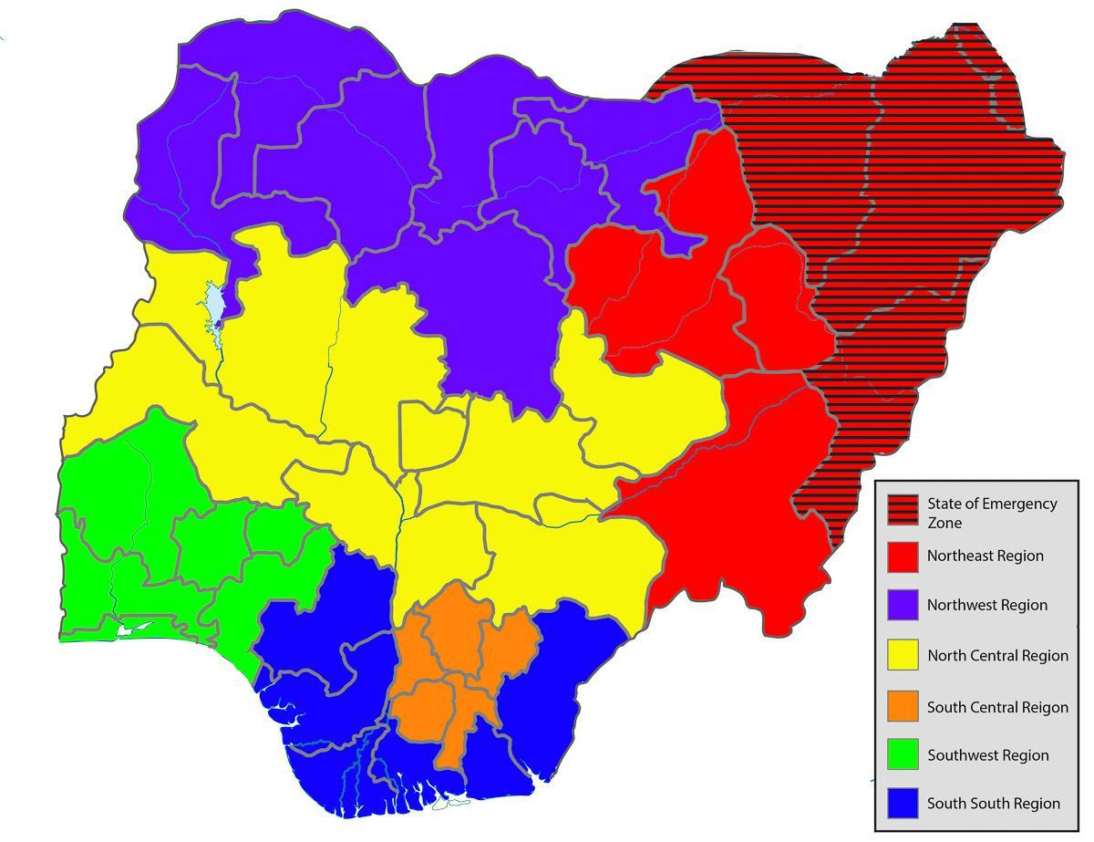 map of nigeria showing all the states