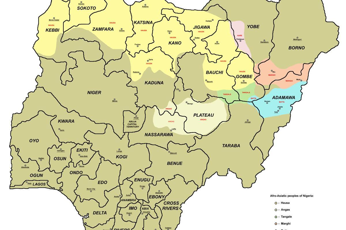 Map of nigeria with states - Map of nigeria with 36 states (Western ...