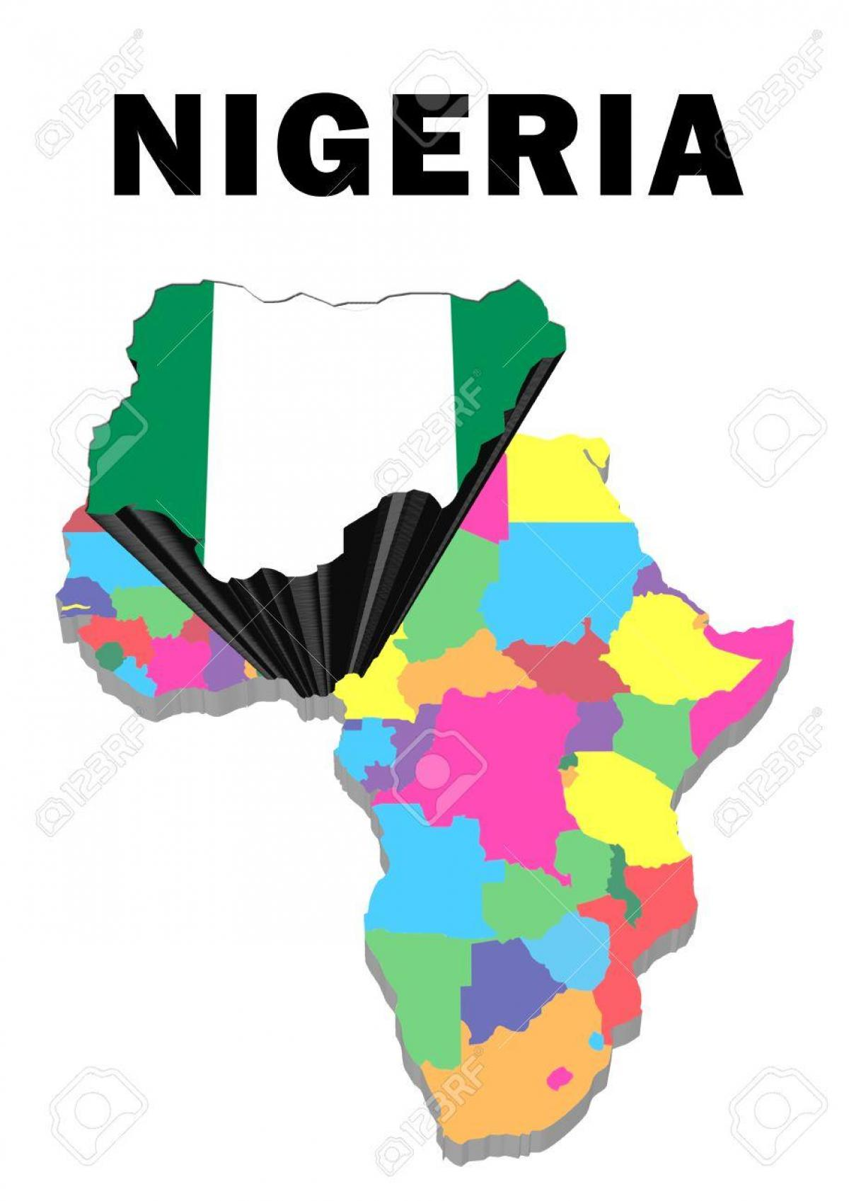 Nigeria map africa - Map of africa with nigeria highlighted (Western ...