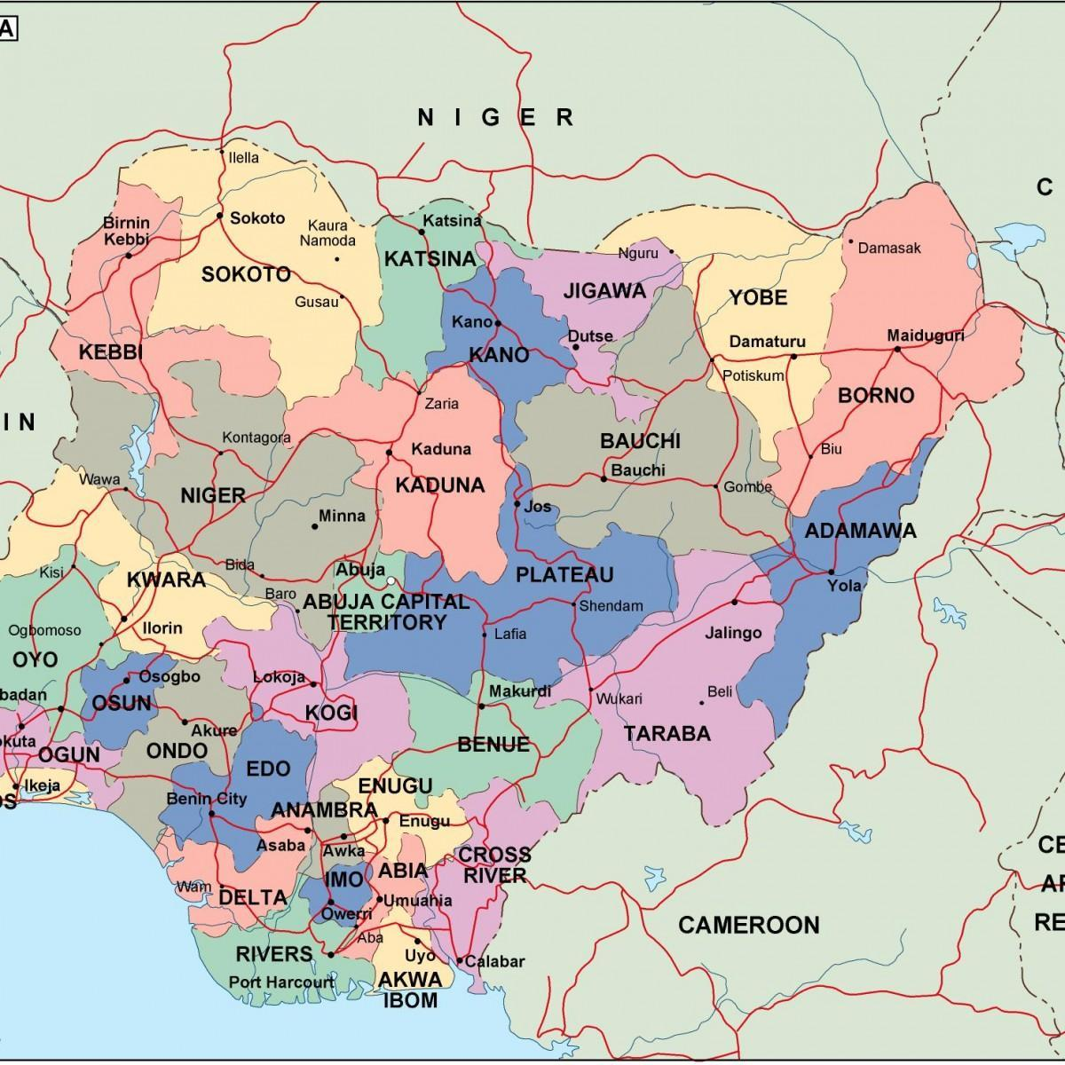 Nigeria map with states and cities - Map of nigeria with states and ...