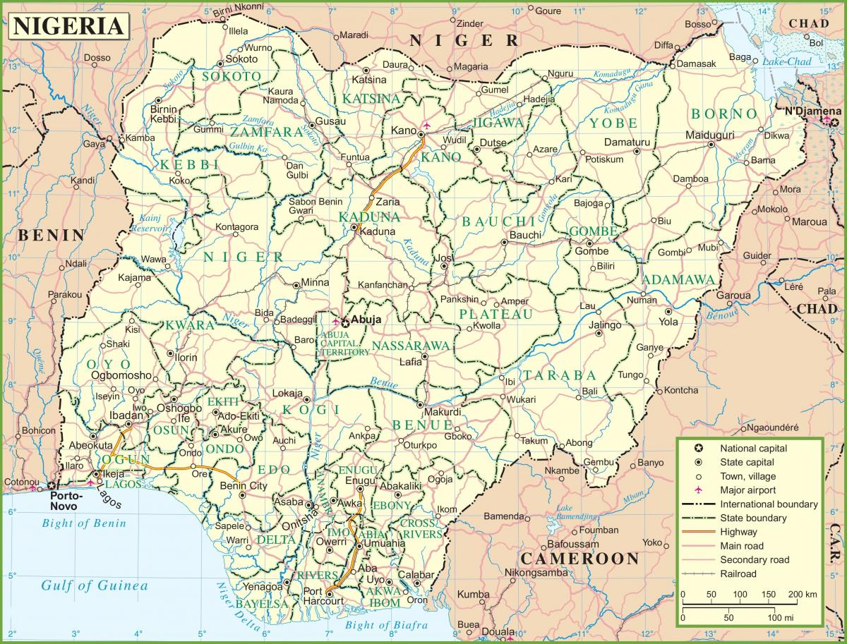 map of nigeria showing major roads