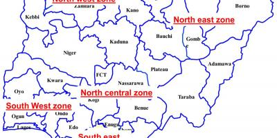 Map of nigeria showing six geopolitical zones