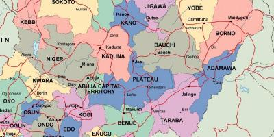 Map of nigeria with states and cities